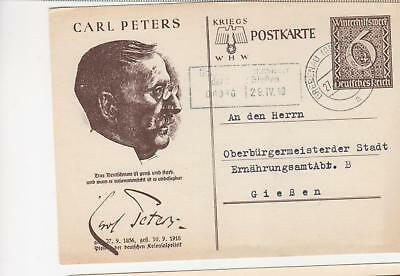 GERMANY, Postal Card, 1939 Winter Relief Fund, 6pf.+4pf., Carl Peters, used.