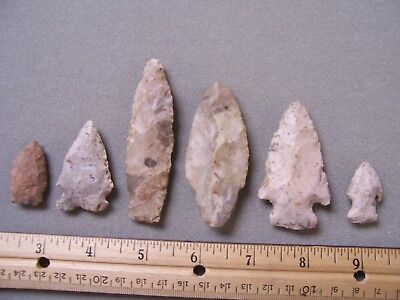 Six Authentic Chert Points From Lacrosse County Wisconsin