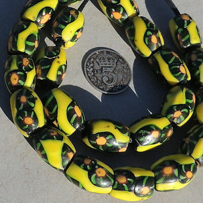 22 old antique venetian oval millefiori african trade beads #4765