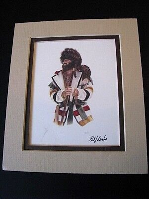 Earl J. Cacho Frontierman Trapper Western Art Print Signed Matted