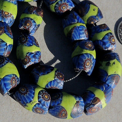 16 old antique venetian oval millefiori african trade beads #4767