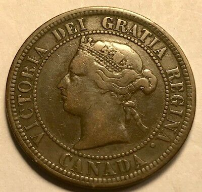 CANADA - Queen Victoria - Large Cent 1876H - Heaton Mint - Very Fine - FREE S&H!