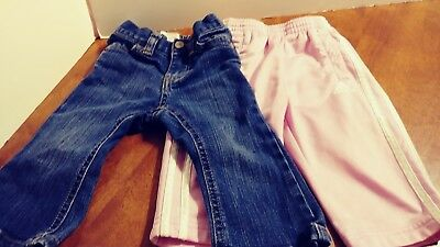 Baby Girl Adidas pink pants 9M Toddler and pair of old navy jeans