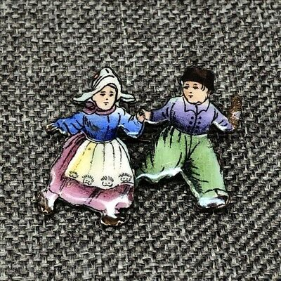 Vintage Antique Pin Brooch Czech Dutch Holland Boy Girl Enamel Brass C Clasp