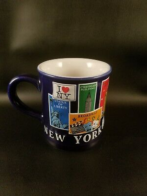 New York Landmark Souvenir Coffee Mug/Cup Statue of Liberty, Broadway, NYPD,Taxi