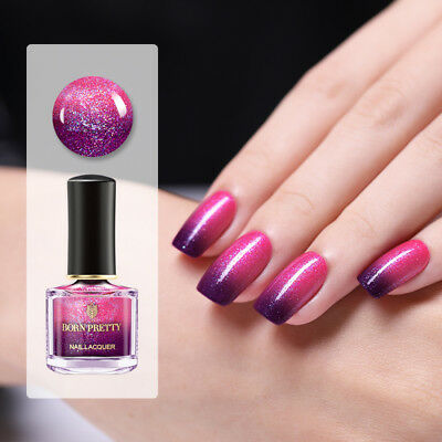 BORN PRETTY Red Glitter Color Changing Nail Polish Peel Off Thermal Varnish