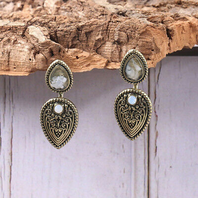 Vintage Drop Earrings Fashion Heart Crystal Jewelry Antique Silver Plated LD