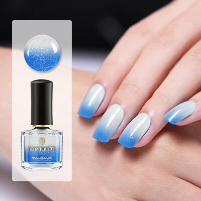 BORN PRETTY Color Changing Nail Polish Peel Off Thermal Varnish Blue to White