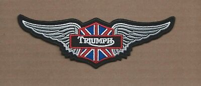 New 2 X 6 Inch Triumph Motorcycles W/Wings Iron On Patch Free Shipping