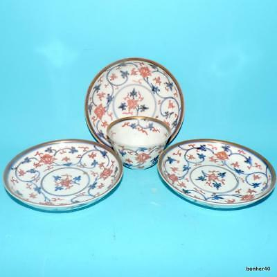 Japanese Porcelain Rare Antique 18Thc Genroku Imari Flower Cup Saucers
