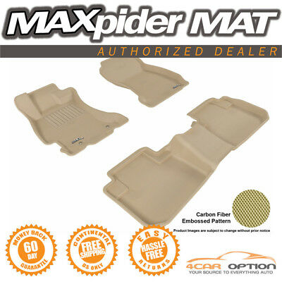 3D Maxpider Fits 14-15 Forester 3Pc Tan Kagu Molded Floor Mat 1St 2Nd Row