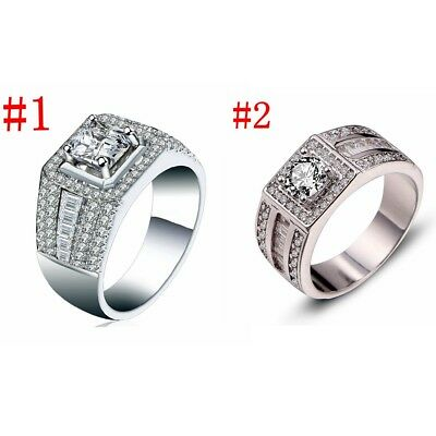 Charm Mens Ring Size 8-11 Silver Gold Filled Cz Engagement Wedding Jewelry Gift