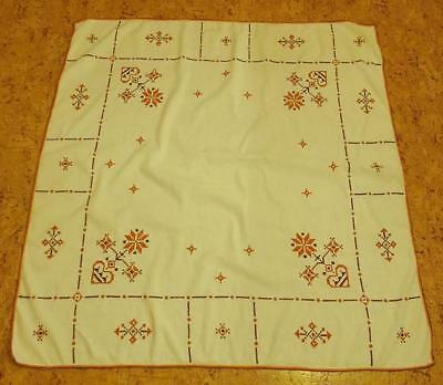 Swedish Christmas large hand-cross-stitch tablecloth, hearts, stars and flowers