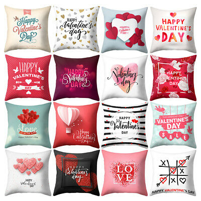 Happy Valentines Day Love Heart Pillow Case Cushion Sofa Car Cafe Decor Cheerful