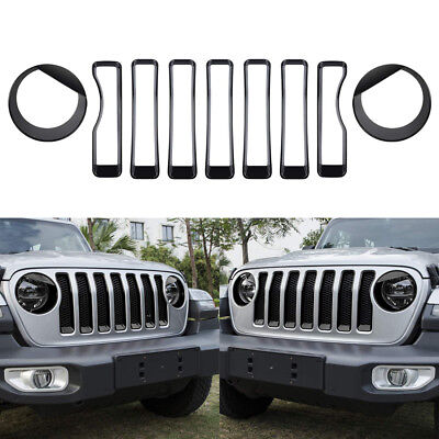 Front Grille Grill Trim Headlight Cover Accessory For 2018 2019 Jeep Wrangler JL