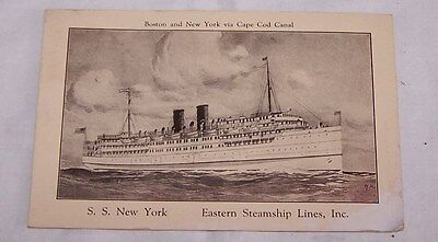 1927 Postcard-S S New York Eastern Steamship Lines Inc-Boston-New York-Cape Cod