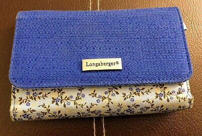 LONGABERGER Tri-Fold Wallet Fabric Blue Floral