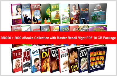 250000 + 2000 eBooks Collection with Master Resell Right PDF 10 GB Package