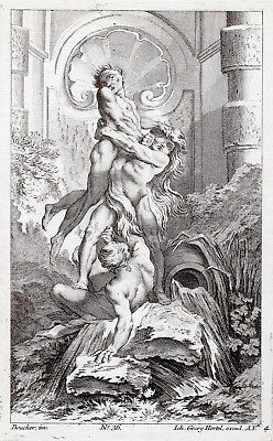 "Amazing François BOUCHER 1700s Engraving ""Hercules and Cacus"" SIGNED Framed COA"