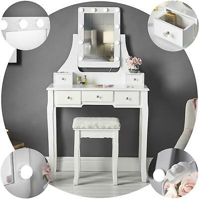 icecreamliving hollywood led dressing table with mirror stool makeup jewellery