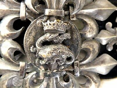 Antique Silver Plated Hand Made Signed Pf Dragon Crown Elaborate Belt Buckle