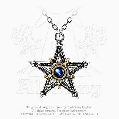 New ALCHEMY Gothic MEDIEVAL PENTANGLE Key of Solomon Star Seal Necklace, Occult
