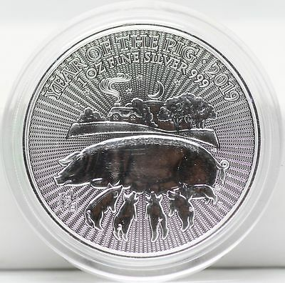2019 Great Britain Year of the Pig 1 Oz Silver 999 Coin UK JB450