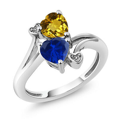 1.53 Ct Yellow Citrine Blue Simulated Sapphire 925 Sterling Silver Ring