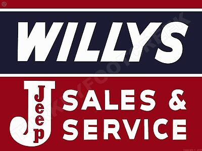 """WILLYS JEEP SALES SERVICE 9"""" x 12"""" Sign"""