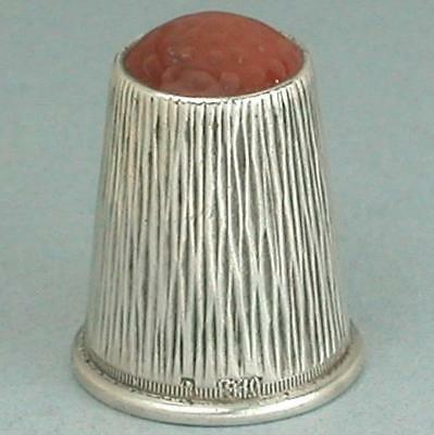 Antique Stone Top Silver Thimble * Scandinavian * Circa 1900s