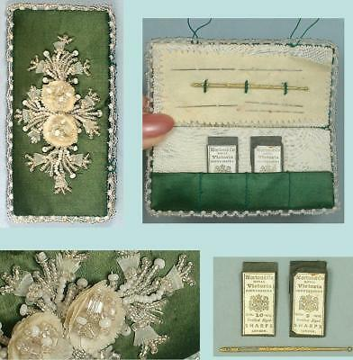 Antique Hand Beaded Needle Book * Glass Beads & Fish Scales Floral Des * C1880s