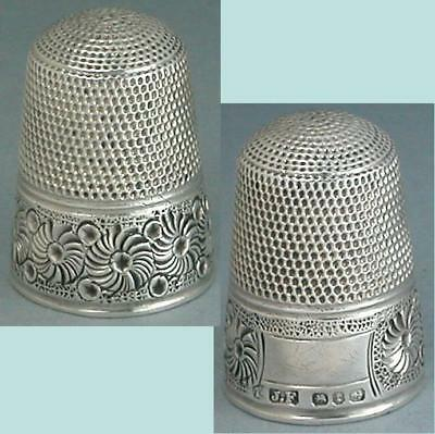 Antique English Sterling Silver Thimble by James Fenton * Hallmarked 1893
