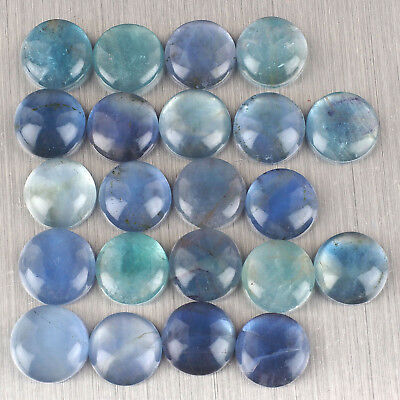 22 Pcs Untreated Natural Fluorite Sparkling Bluish Green Cabochons ~ 16mm Round