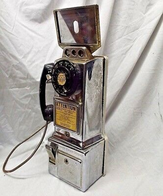 Vintage AUTOMATIC ELECTRIC CHROME 3 COIN SLOT WALL PAY PHONE TELEPHONE ROTARY