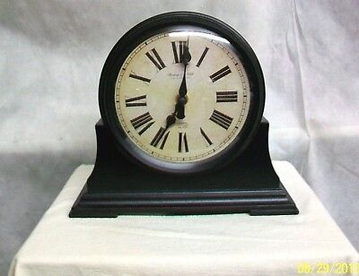 #AC-CK STERLING & NOBLE THE CLASSIC DARK BROWN WOOD WOODEN MANTEL or SHELF CLOCK