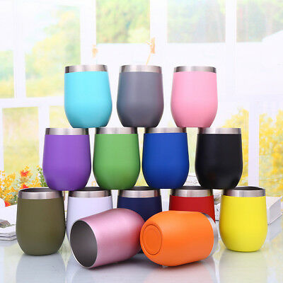 Metal Stainless Steel Wine Glass Tumbler 12oz Double Wall Insulated Rambler Cup