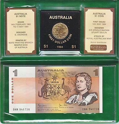 Last $1 Banknote, First $1 Australia Coin Set