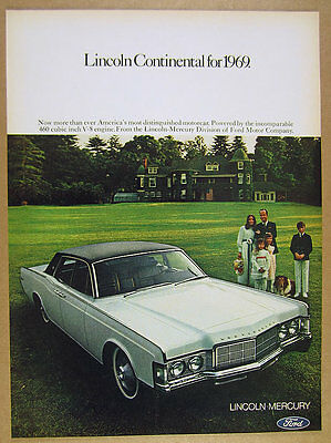 1969 Lincoln Continental White Car Family House Dog Photo Vintage