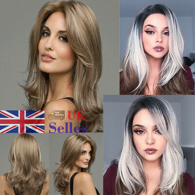 2 Style Brown Blonde Wig Long Curly Synthetic Wavy Full Head Ladies Hair Wigs