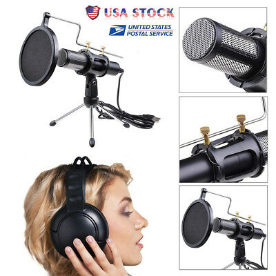 US Condenser USB Microphone Tripod Stand for Game Chat Studio Recording Computer