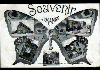 ORANGE (84) SOUVENIR de ,,, MONUMENTS début 1900 / Décor PAPILLON