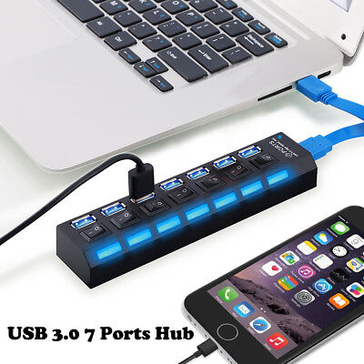 7-Port USB 3.0 Multi Charger Hub+High Speed Adapter ON/OFF Switch Laptop/PC US