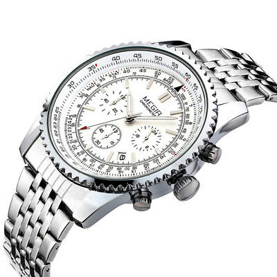 MEGIR Army Sports Quartz Watches Stainless Steel Military Chronograph Gifts