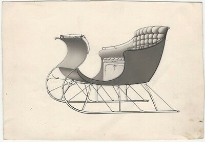 Late 19th Century Ink & Wash Horse-Drawn Sleigh Design