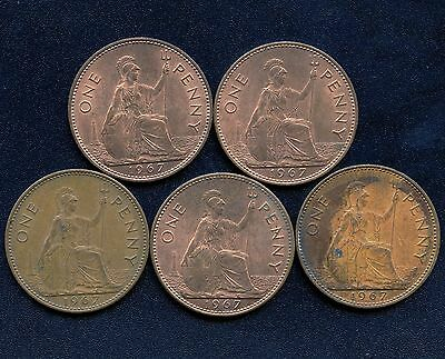 Lot Of 5 Great Britain 1967 1 Penny Coins