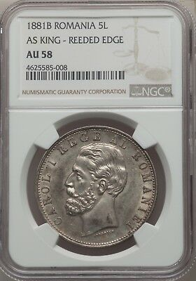 Romania Carol I  1881  5 Lei Silver Coin Almost Uncirculated Certified Ngc Au58