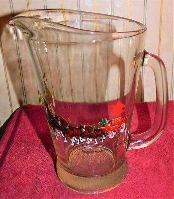1970s BUDWEISER Beer 8 HORSE HITCH w/ WAGON Heavy Glass PITCHER (MINT) The Best!