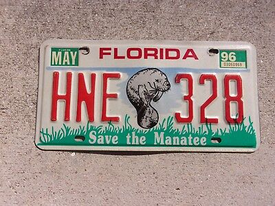 Florida 1996 Save the Manatee License Plate  #  HNE 328