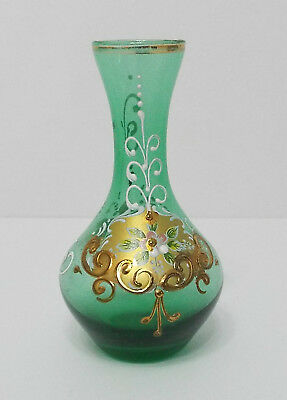 Murano 24k Gold Gilt Green Venetian Hand Painted Floral Small Bud Thin Neck Vase