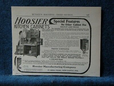 1906 Hoosier Kitchen Cabinet Ad  Lists Special Features Others Don't Have